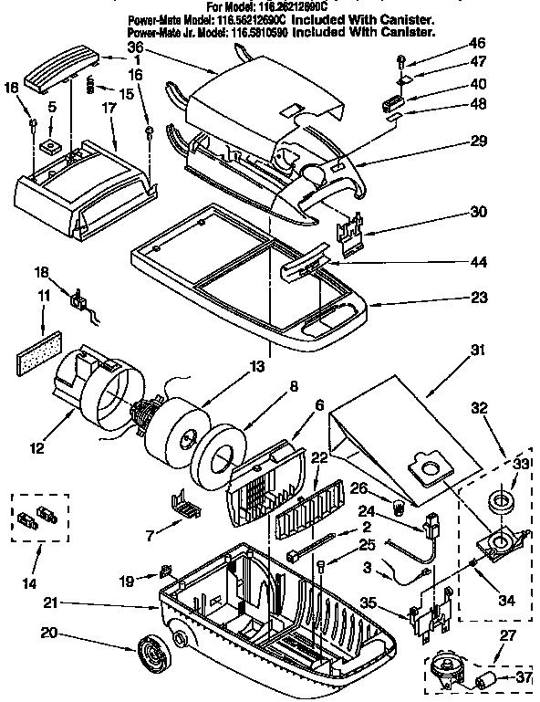 Kenmore model 11626212690C vacuum, canister genuine parts