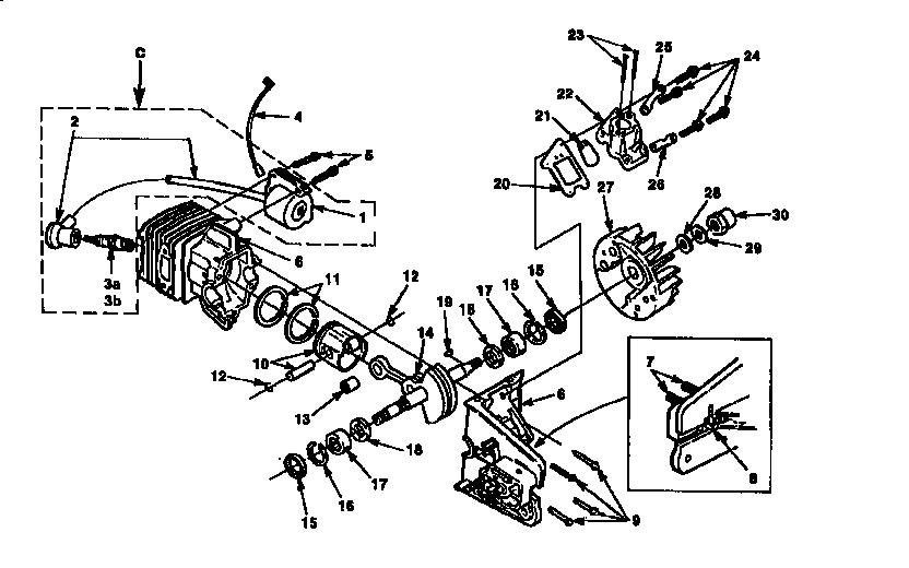 Homelite model SUPER 240-UT10717 A,B,C chainsaw, gas