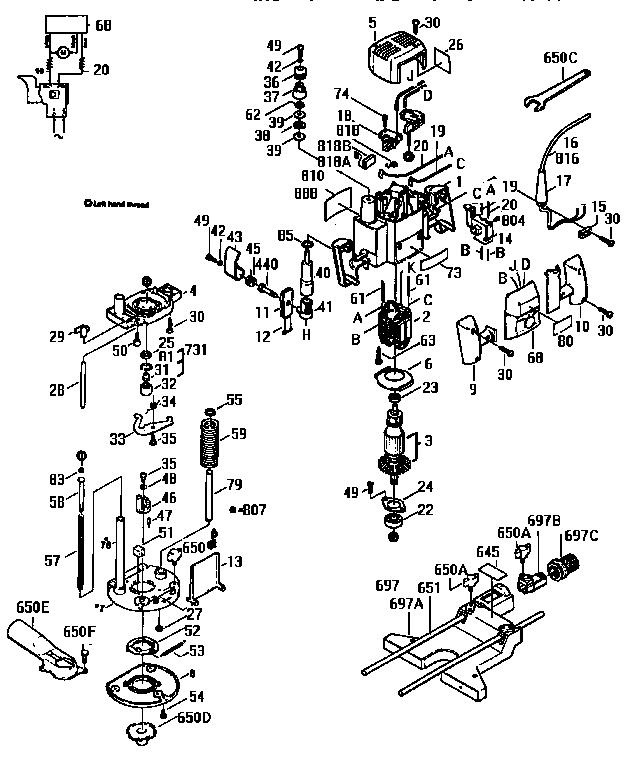 Bosch model 1613EVS router genuine parts