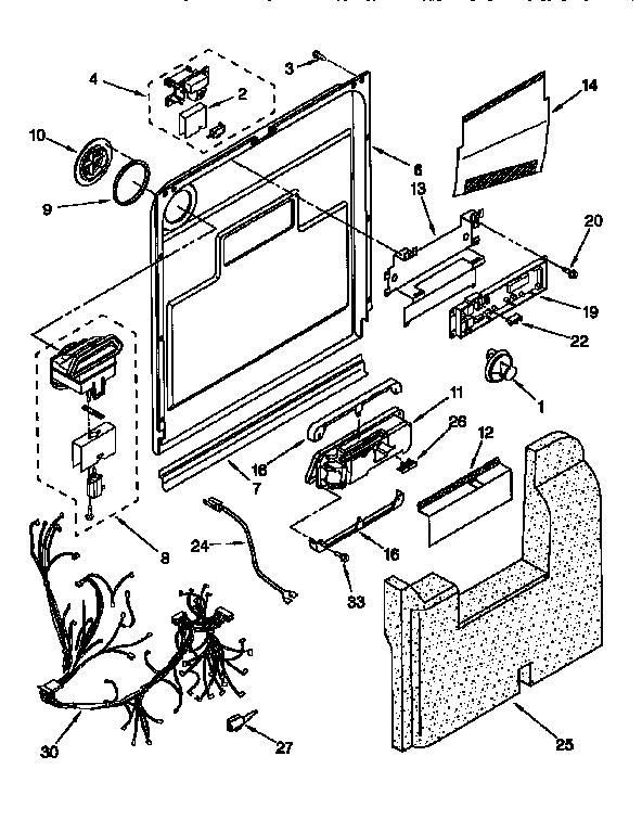 Kitchenaid model KUDS24SEWH2 dishwasher genuine parts