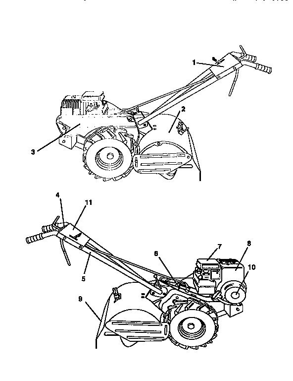 Western-Auto model 3455A79 rear tine, gas tiller genuine parts