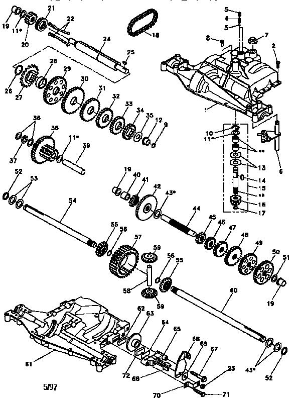 Footedana model D4360-79 transaxle/transmission, tractor
