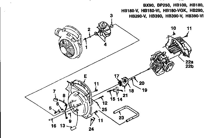 Homelite model BX90-UT08026-B blower, gas genuine parts