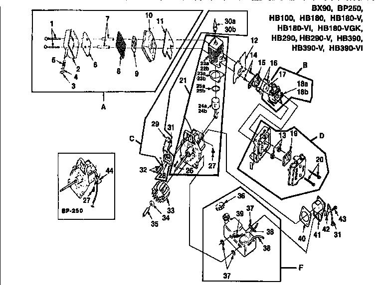 Homelite model HB-180-V UT08010-F blower, gas genuine parts