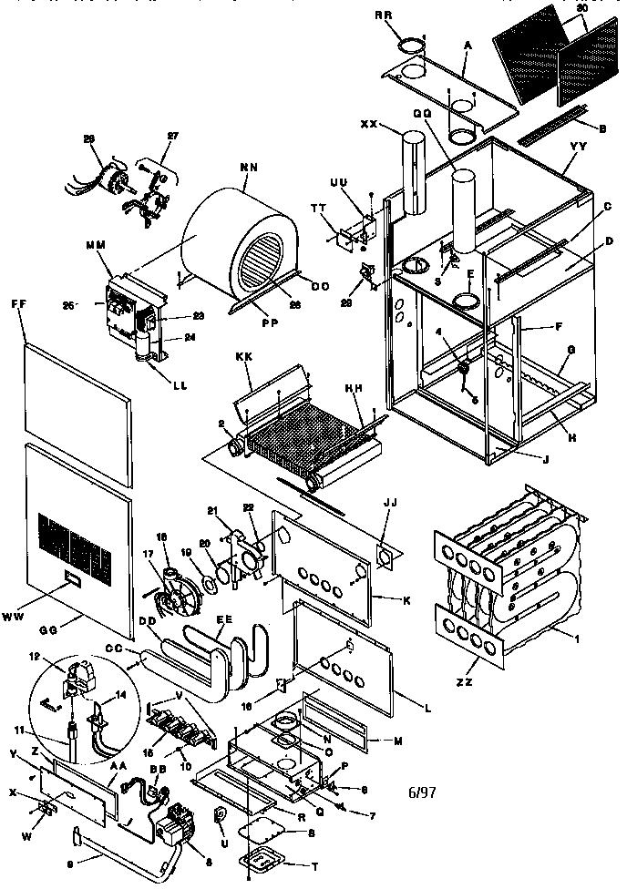 Icp model GCK075N12C2 furnace/heater, gas genuine parts