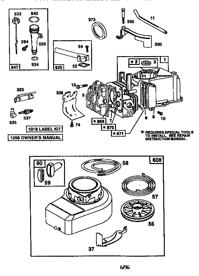 Briggs-Stratton model 10A902-0233-01 engine genuine parts