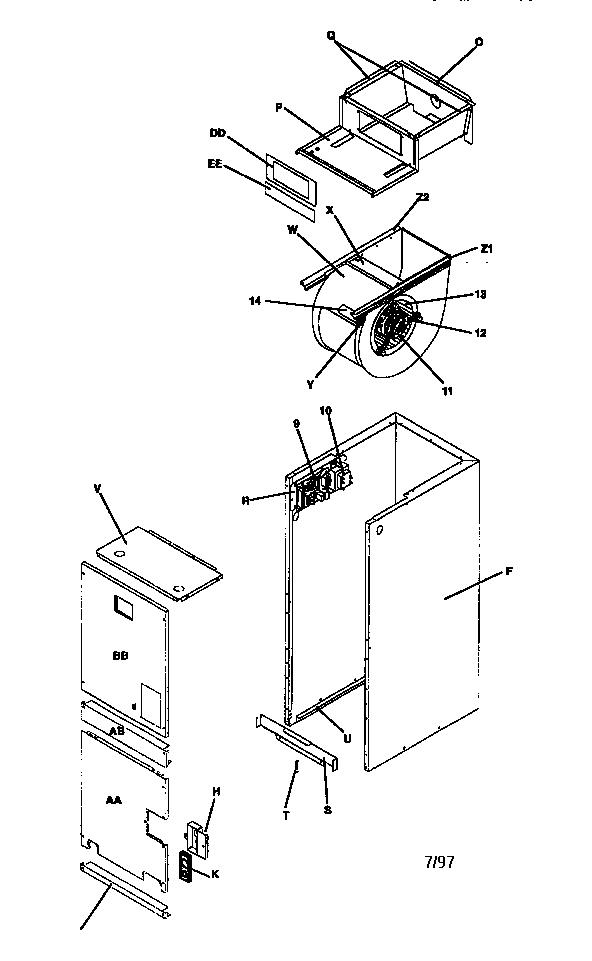 Icp model EF12F1900A air handler (indoor blower&evap