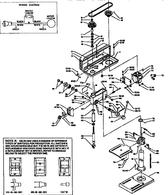 Delta model 11-990 drill press genuine parts