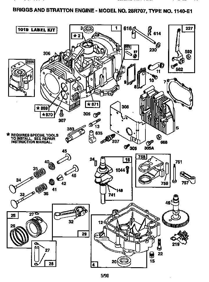 Briggs-Stratton model 28R707-1140-E1 engine genuine parts