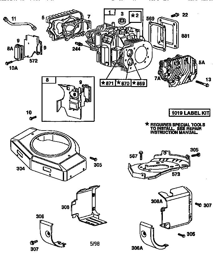 Briggs-Stratton model 42E707-2631-E1 engine genuine parts