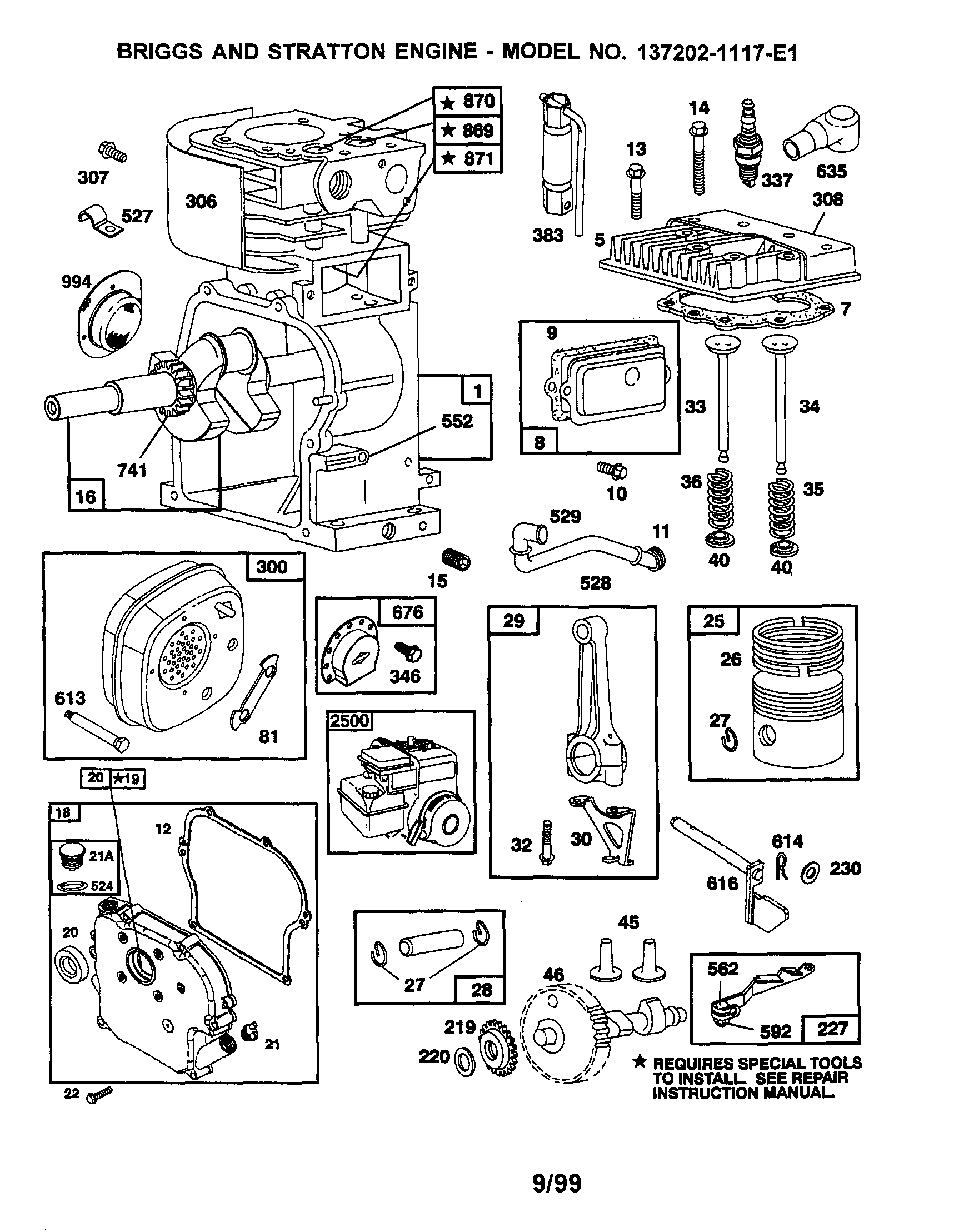 Briggs-Stratton model 137202-1117-E1 engine genuine parts