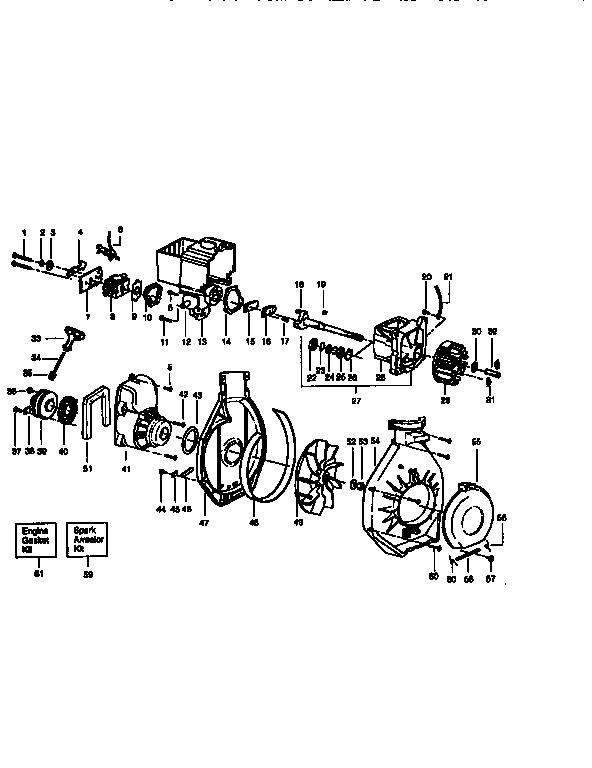 Craftsman model 358797770 blower, gas genuine parts