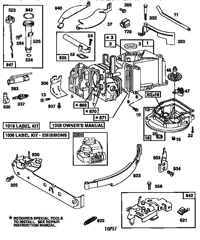 Briggs-Stratton model 10A902-2123-E1 engine genuine parts
