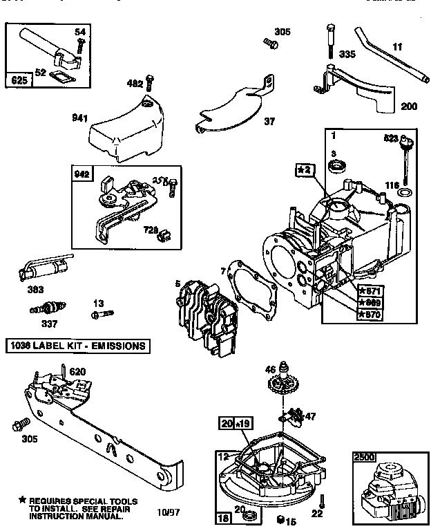 Briggs-Stratton model 9D902-2085-E2 engine genuine parts