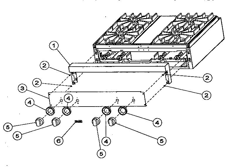 Viking-Range model VGRT36 counter unit, gas genuine parts