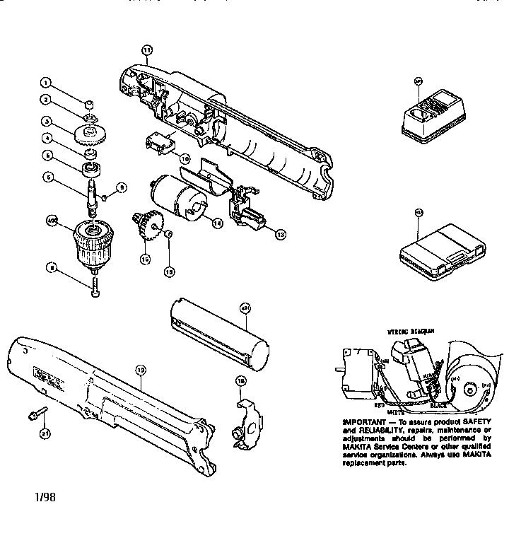 Makita model DA391D drill cordless genuine parts