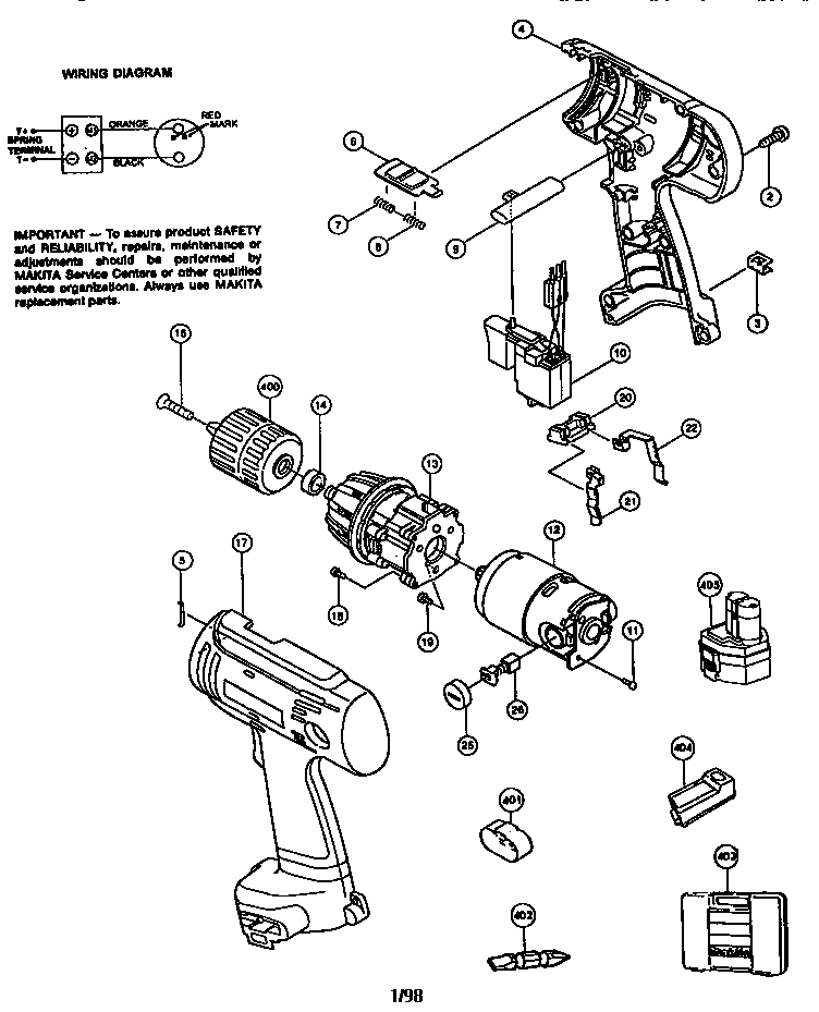 Makita model 6213DWAE drill driver genuine parts