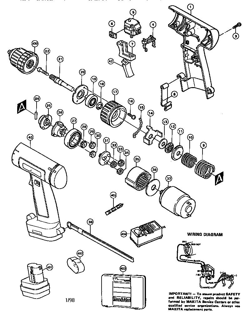 Makita model 6221D drill driver genuine parts