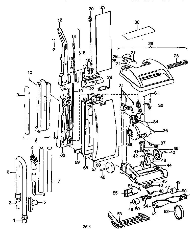 Hoover model U5109930 vacuum, upright genuine parts