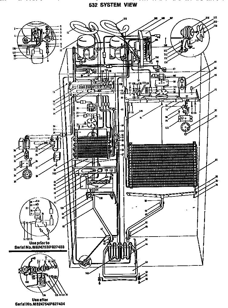 Sub-Zero model 532 bottom-mount refrigerator genuine parts
