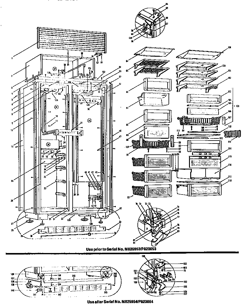 Sub-Zero model 561 bottom-mount refrigerator genuine parts