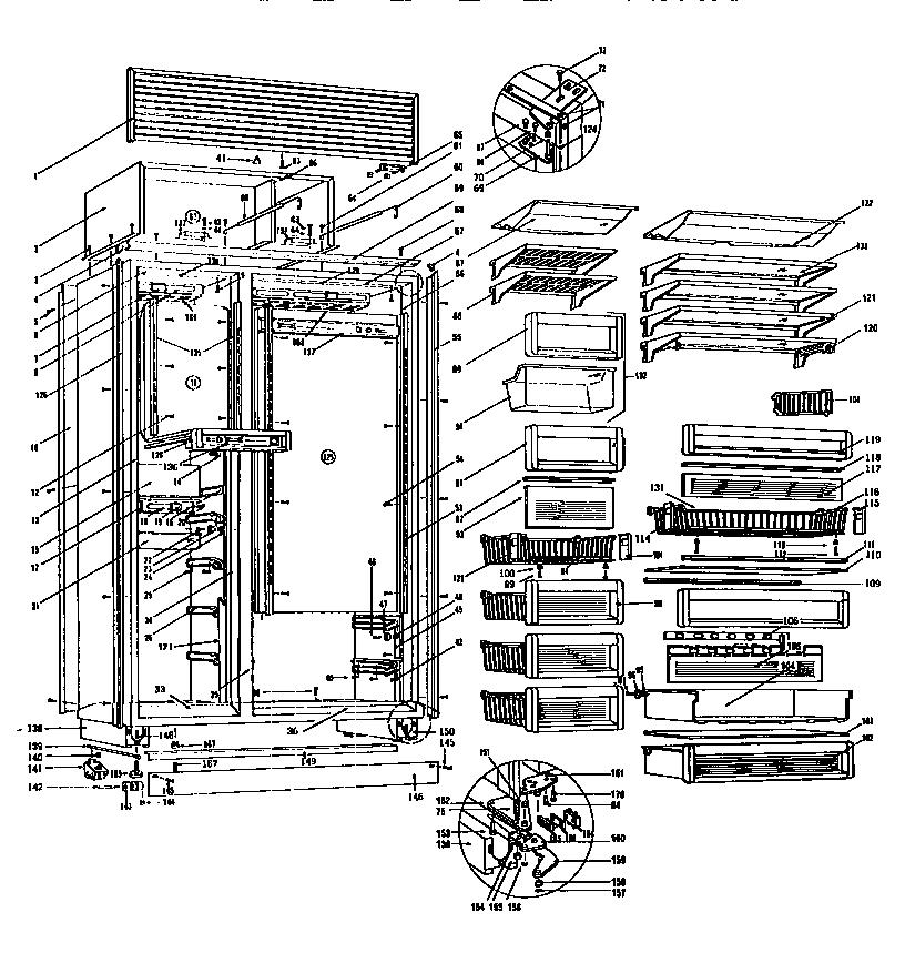 Sub-Zero model 542 bottom-mount refrigerator genuine parts