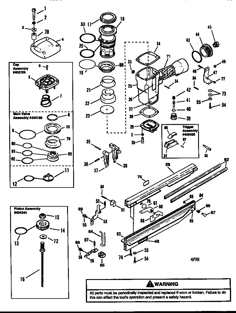 Paslode model 3250/65-F16 nailer genuine parts