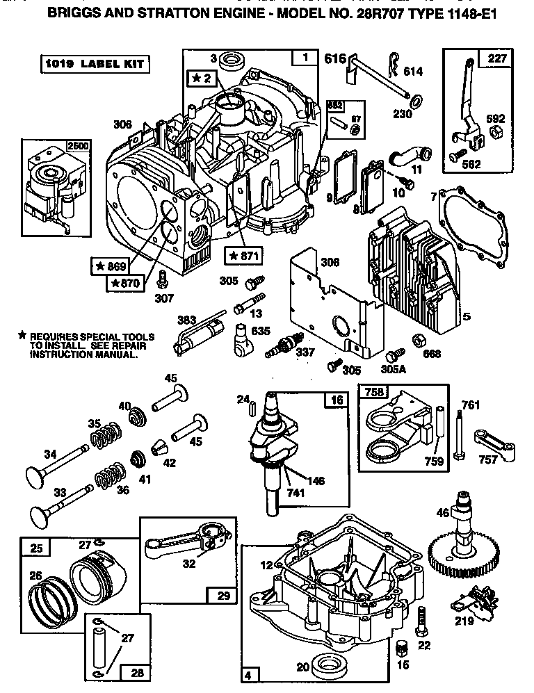 Briggs-Stratton model 28R707-1148-E1 engine genuine parts