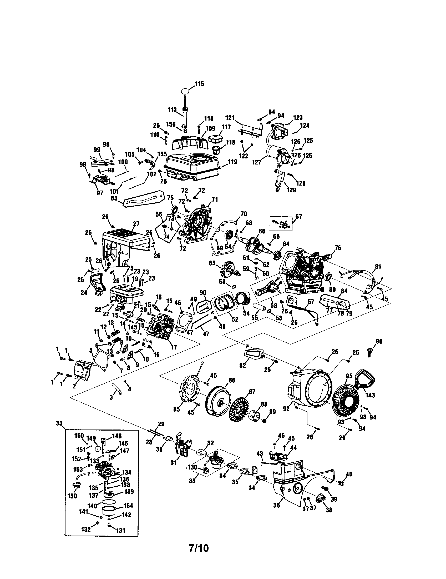 Mtd model 752Z365-SUB engine genuine parts