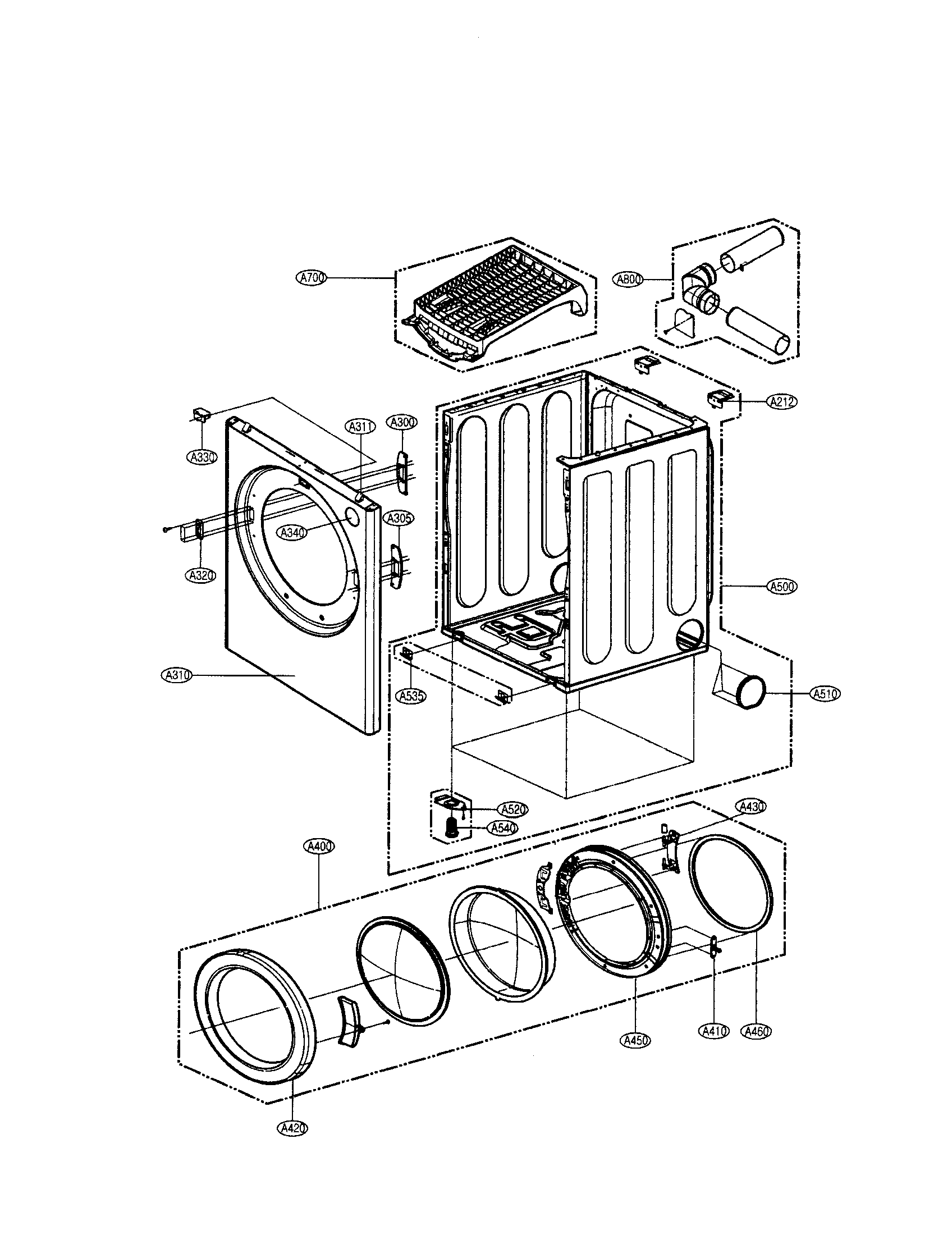 Lg model DLE0332W residential dryer genuine parts