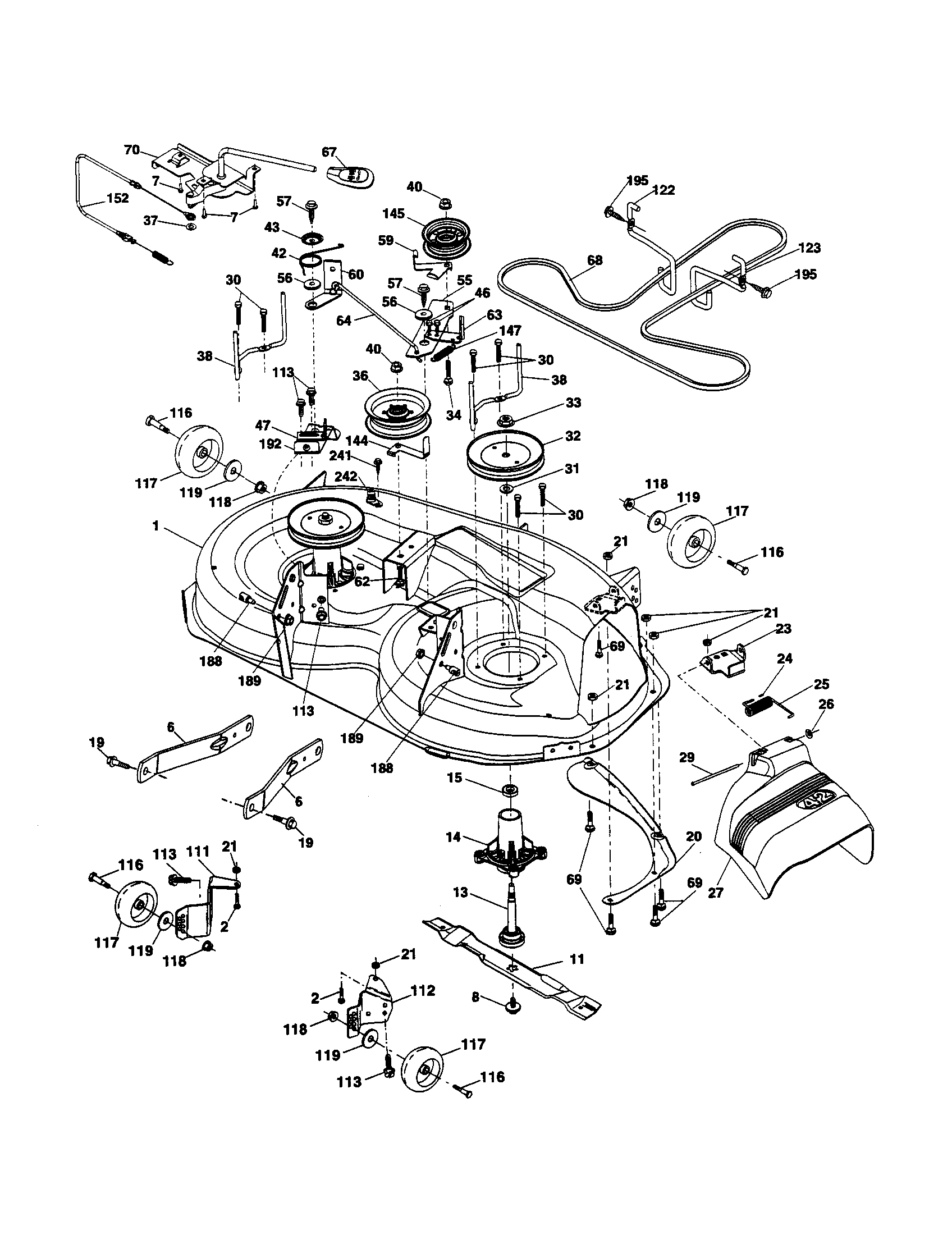 Ariens model 96046001100 lawn, tractor genuine parts