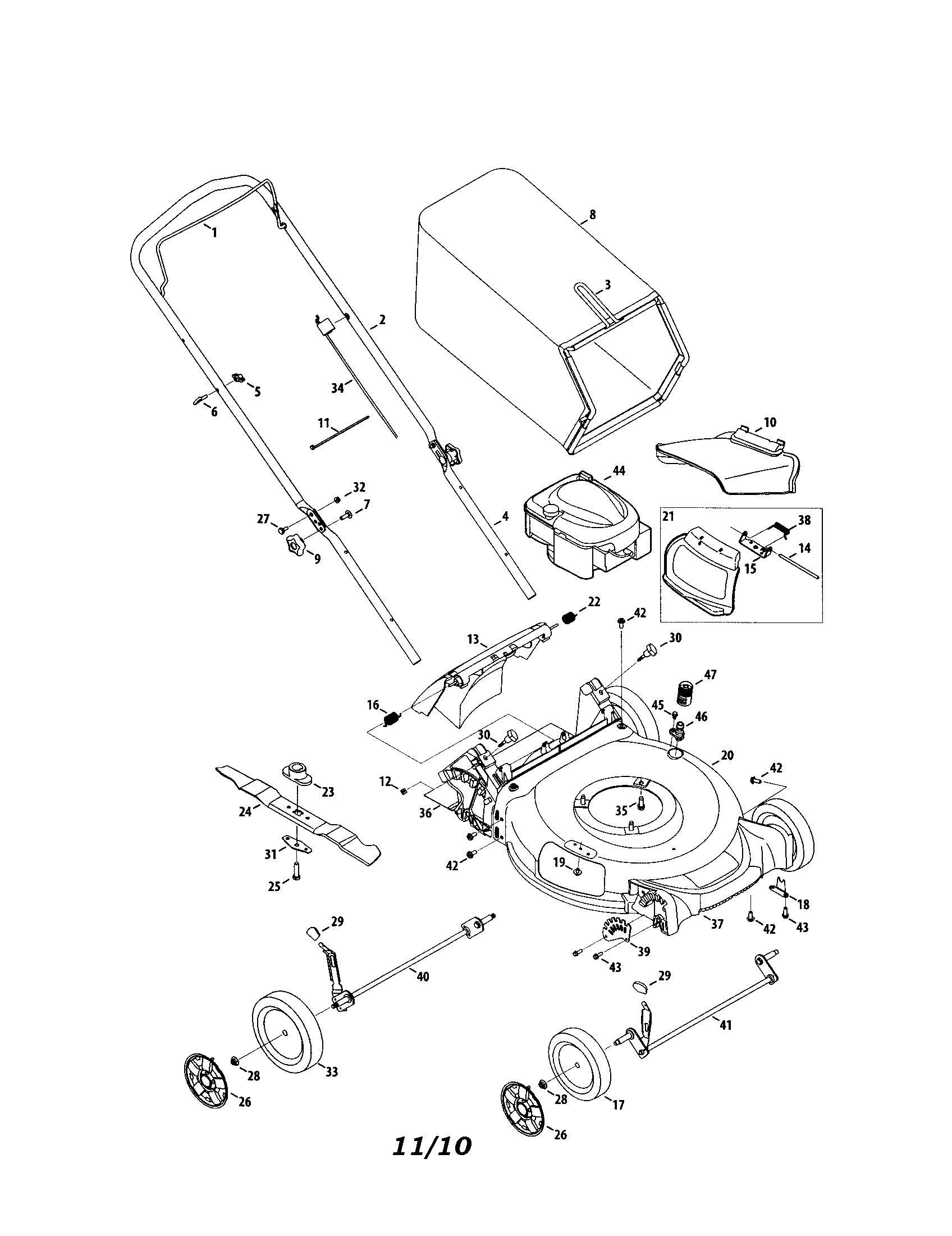 Mtd model 11A-A25G099 walk behind lawnmower, gas genuine parts