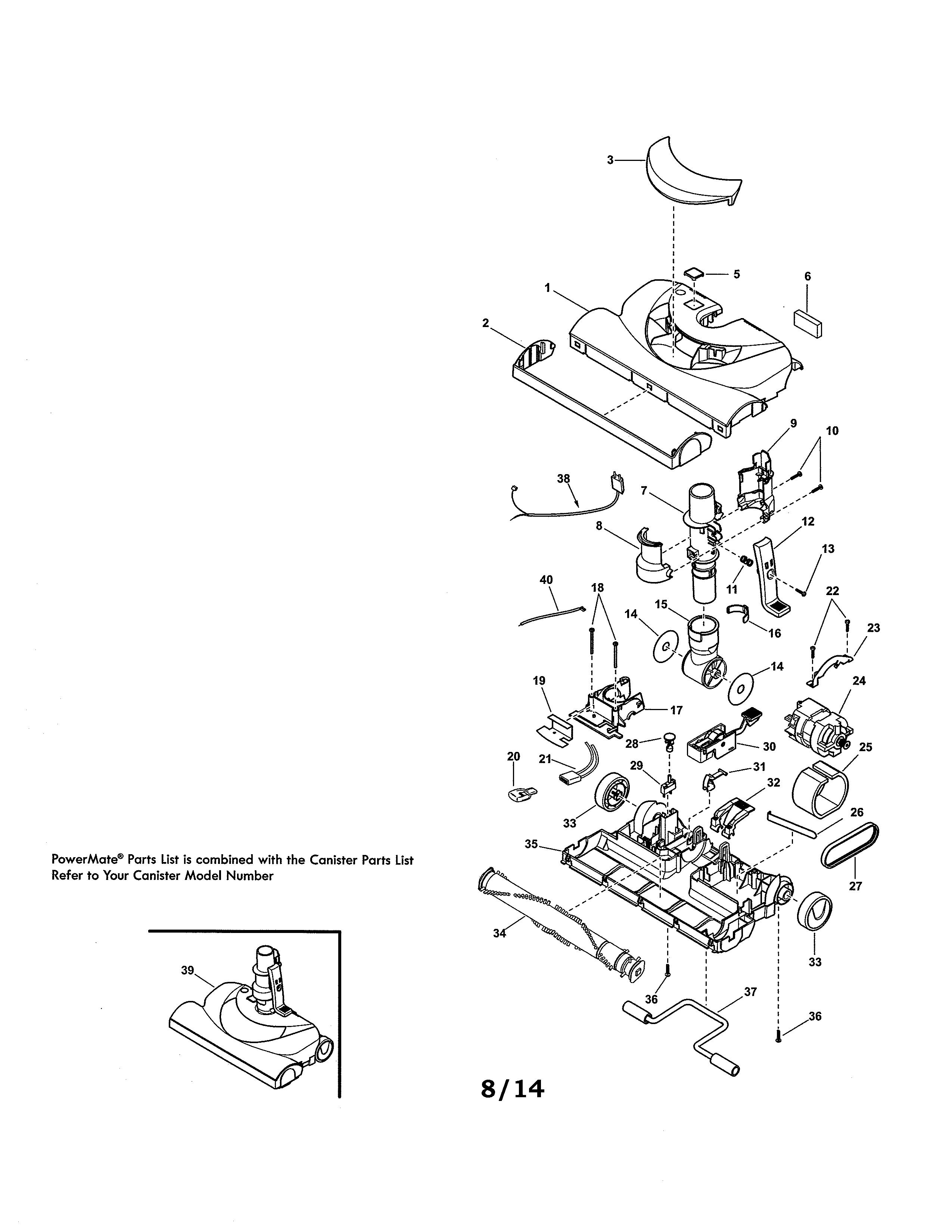 Kenmore model 11651614015 attachments (vacuum) genuine parts