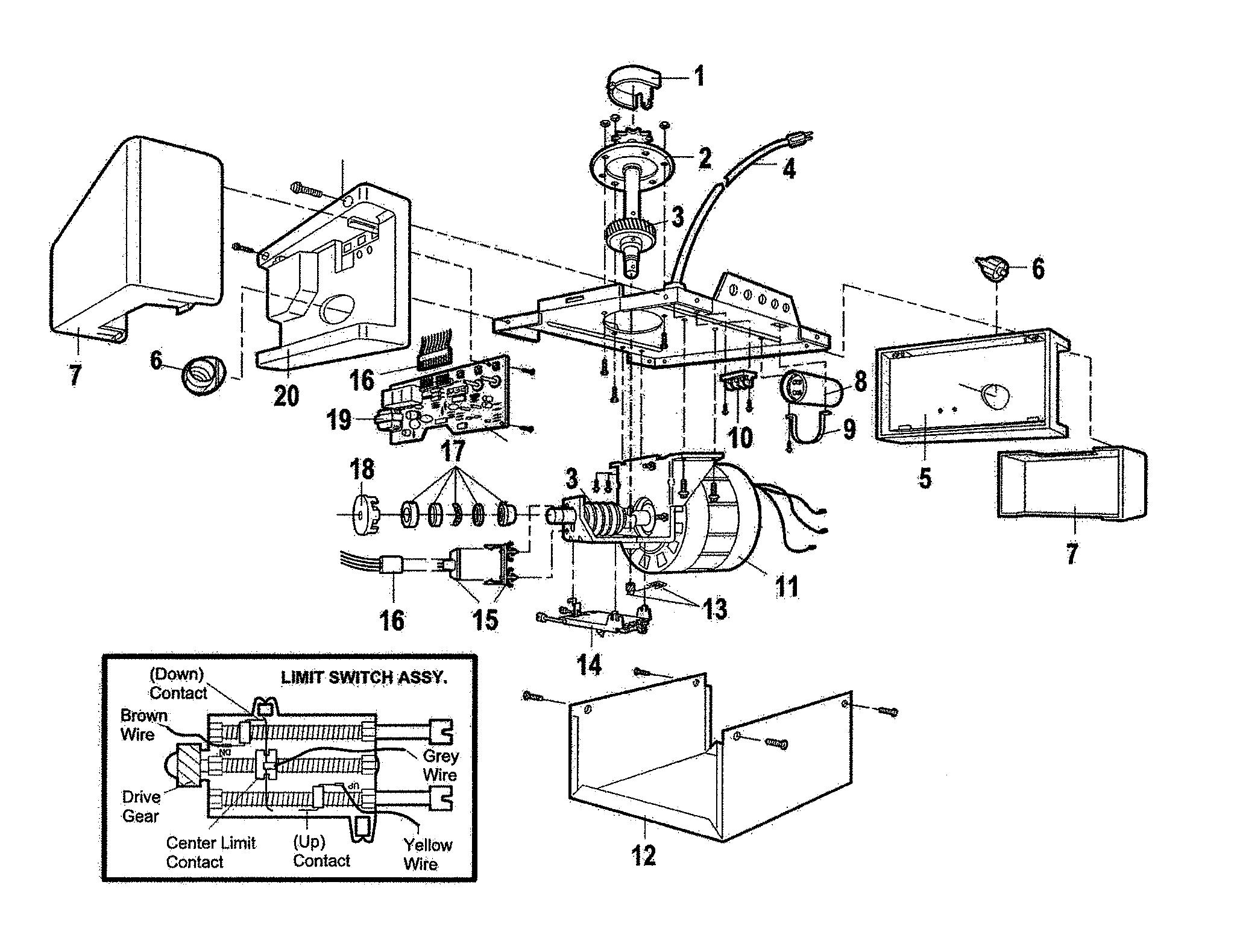 Chamberlain model 1265LM garage door opener genuine parts