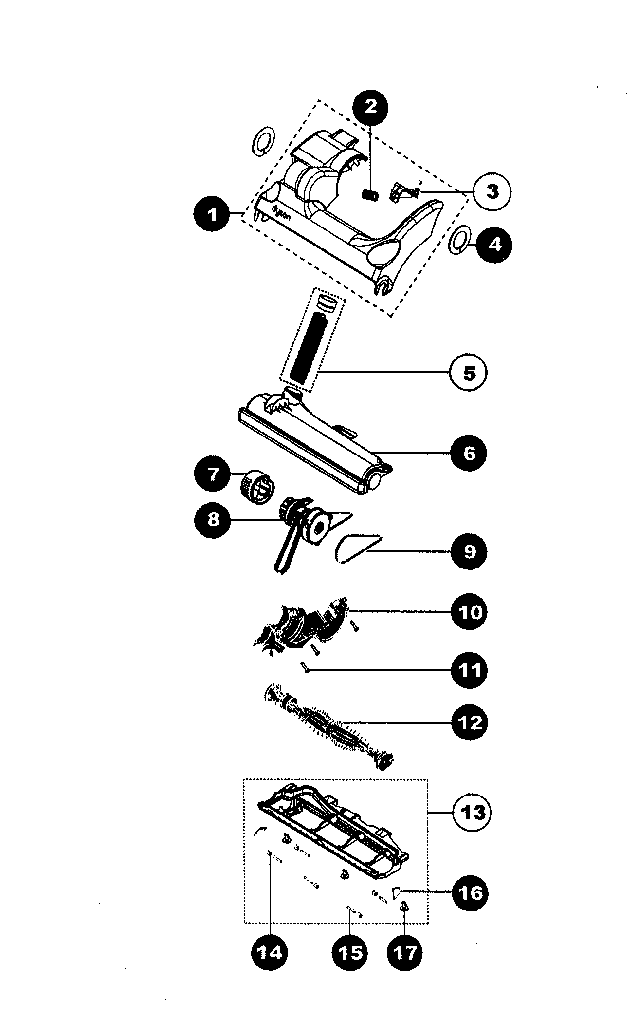 Dyson model DC07 vacuum, upright genuine parts