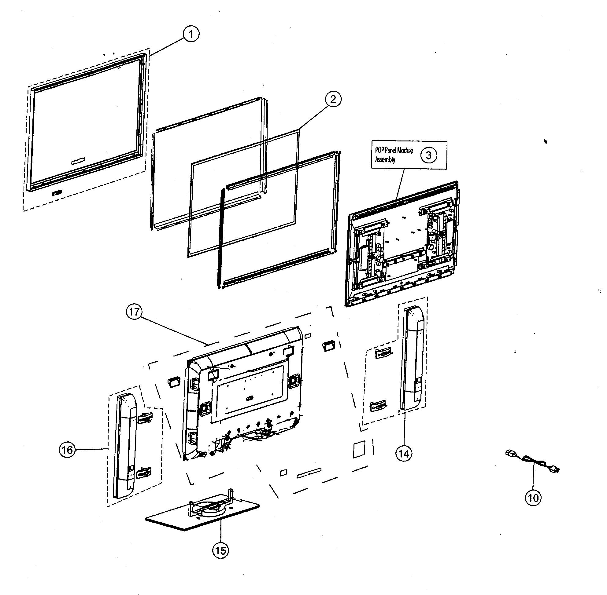 Hitachi model 42HDT55 plasma television genuine parts