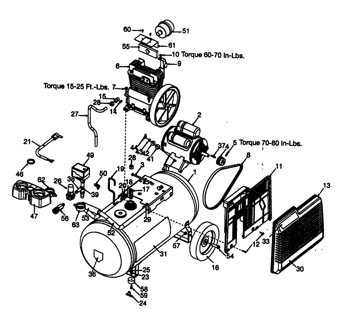 Craftsman model 919195411 air compressor genuine parts