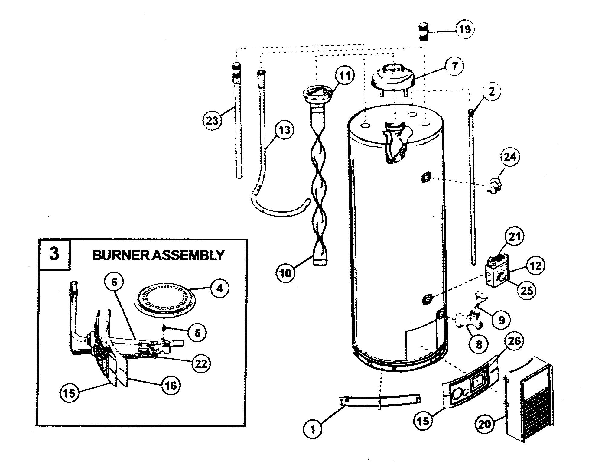 Kenmore model 153331443 water heater, gas genuine parts