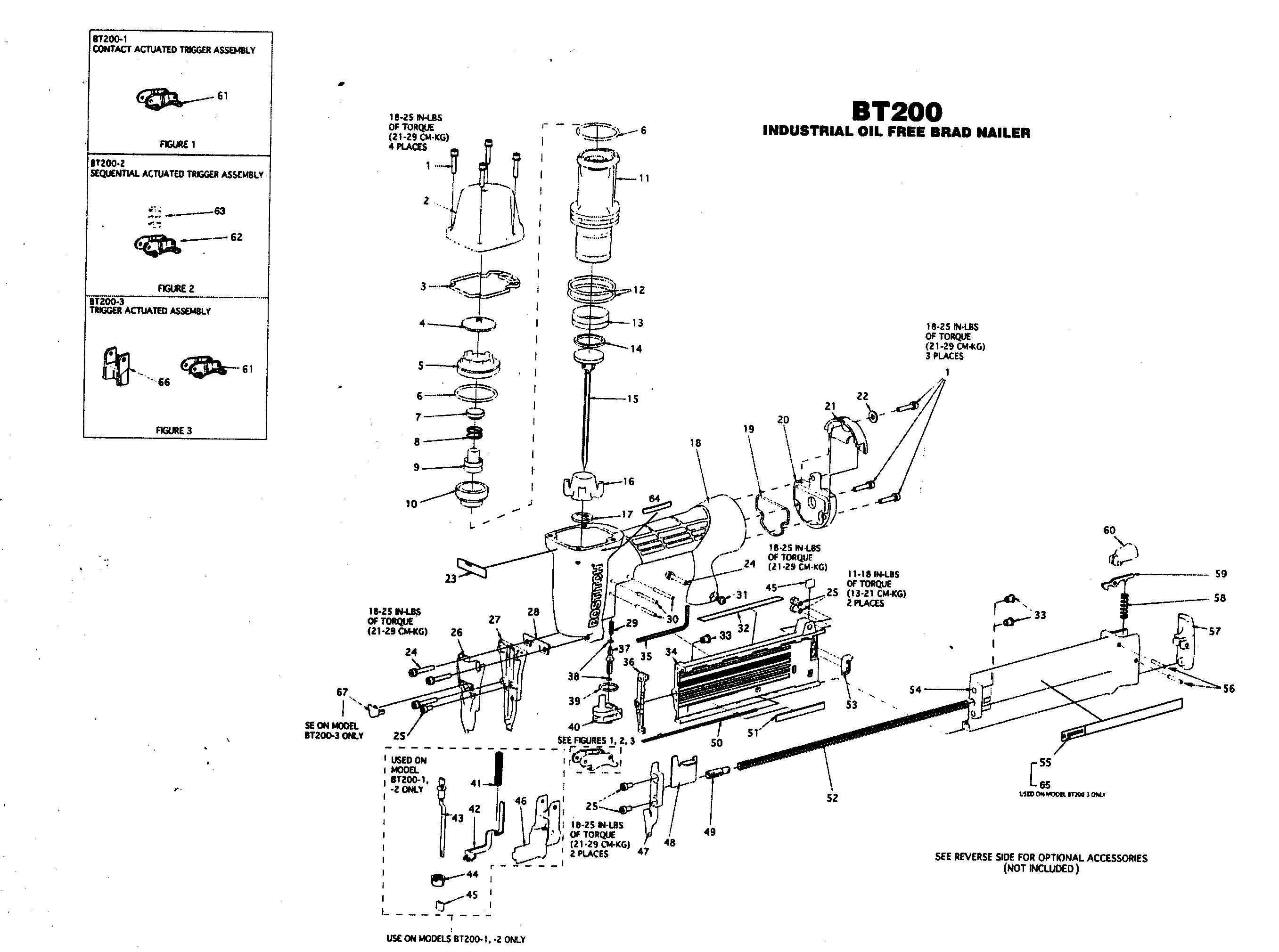 Stanley-Bostitch model BT200 nailer genuine parts