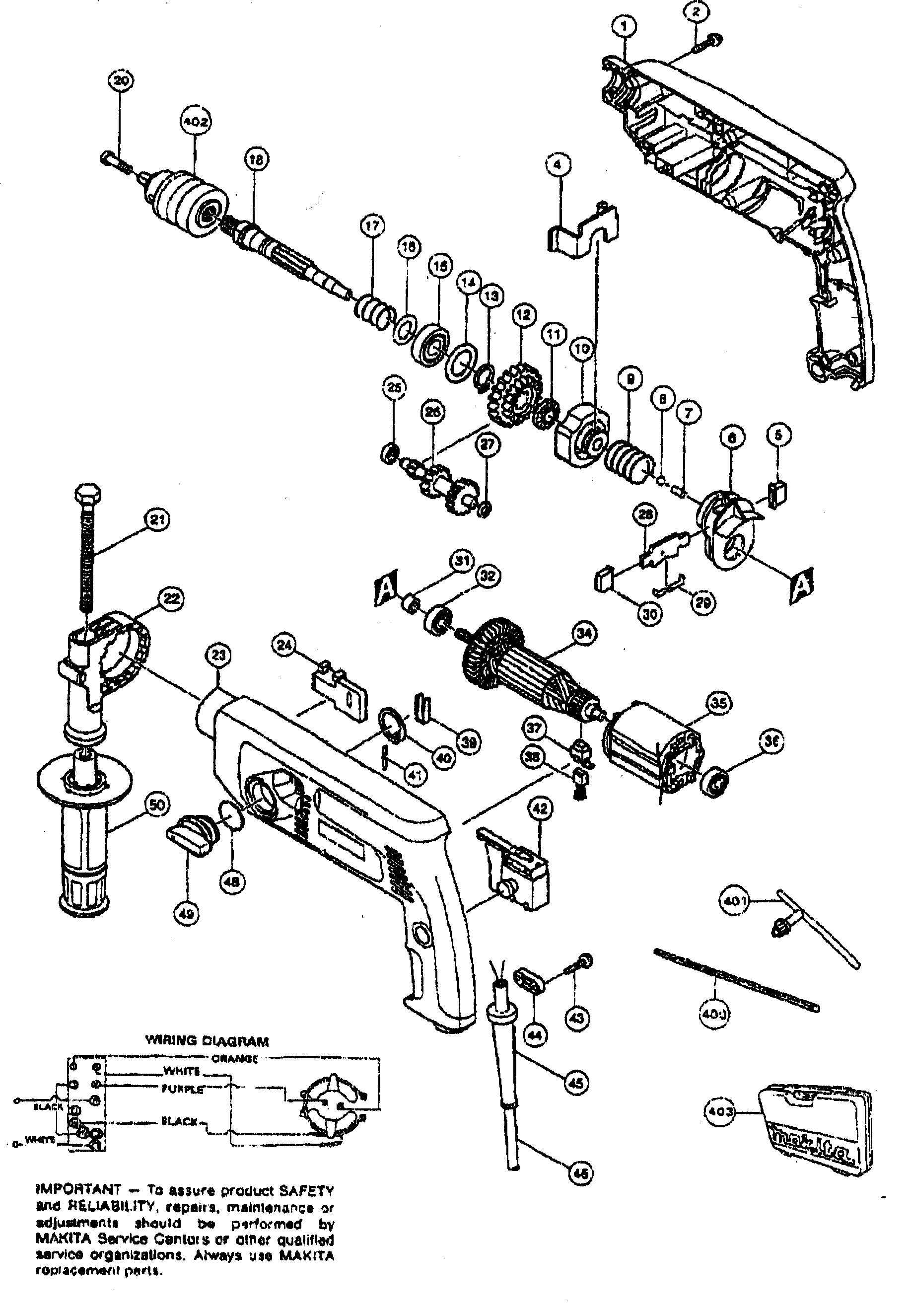 Makita model HP2040 drill hammer genuine parts