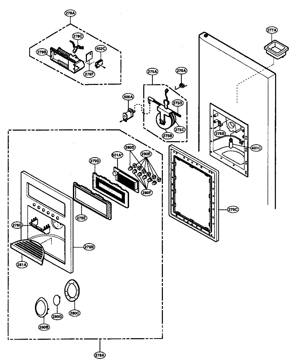 Lg model LRSC26980TT side-by-side refrigerator genuine parts