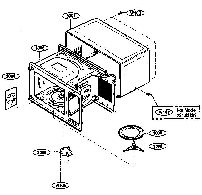 Kenmore model 72163299301 countertop microwave genuine parts
