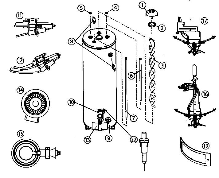 American-Water-Heaters model FG1H4040T3NOV water heater