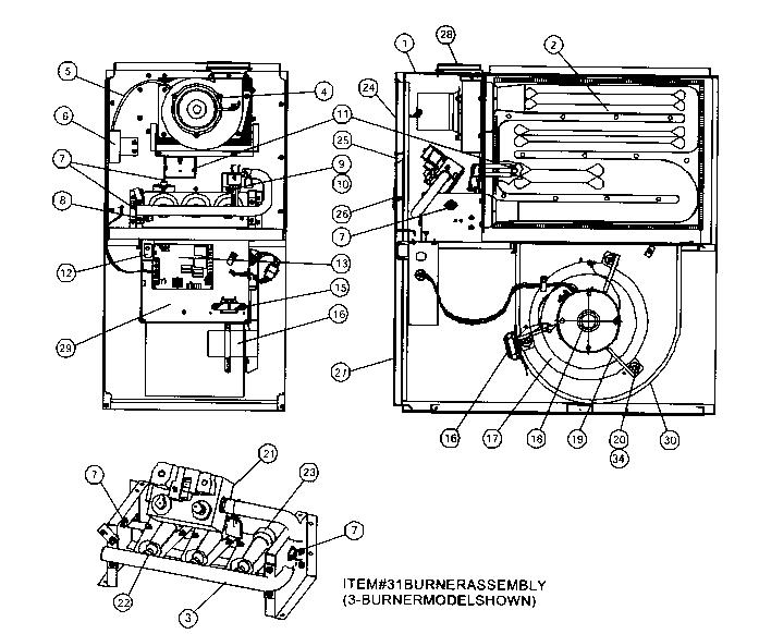 Coleman model UGAB075BUH furnace/heater, gas genuine parts
