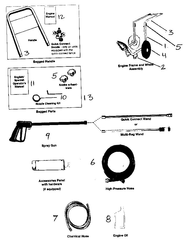 Devilbiss model EXH2425 power washer, gas genuine parts