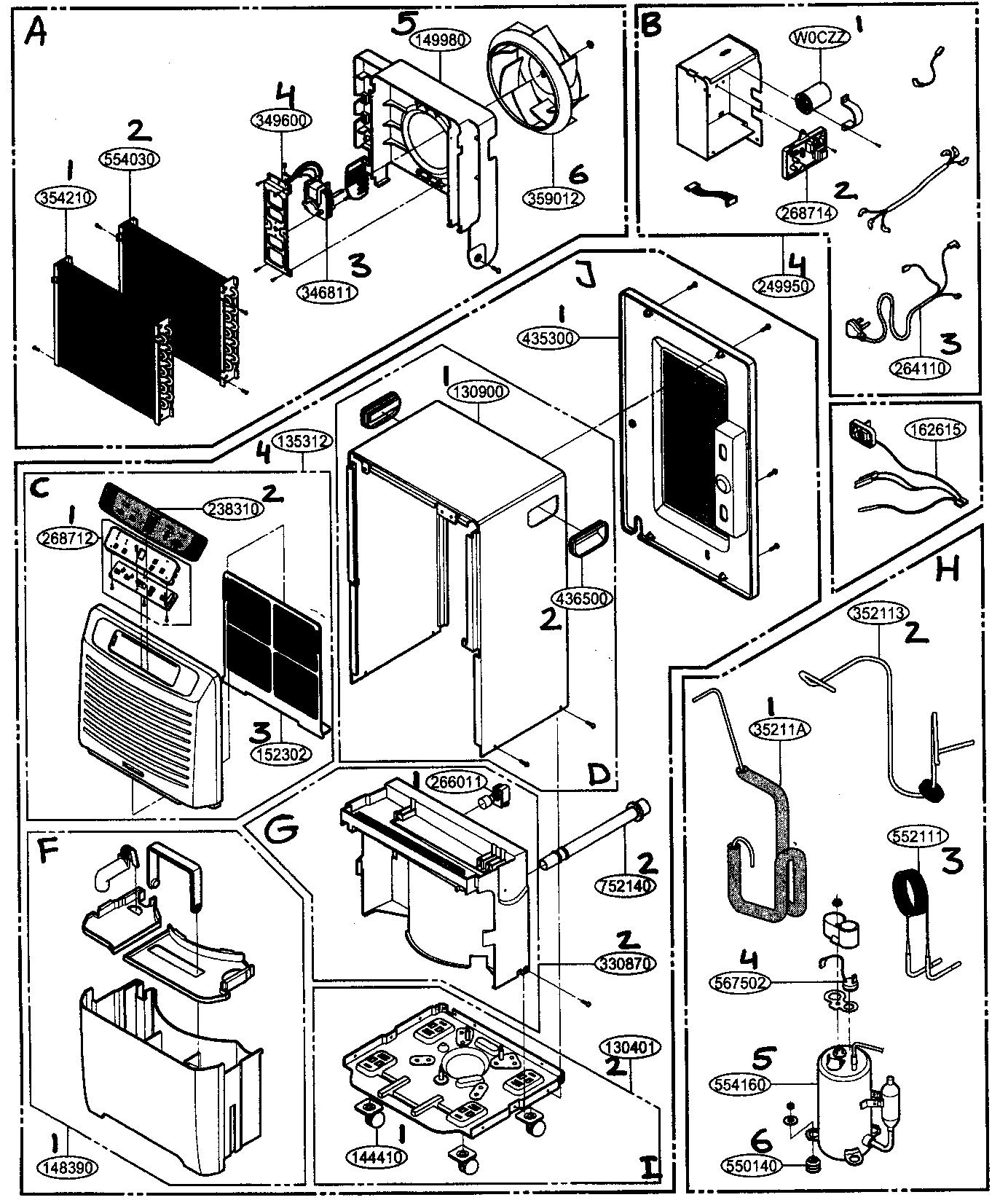 Friedrich model D50B dehumidifier genuine parts