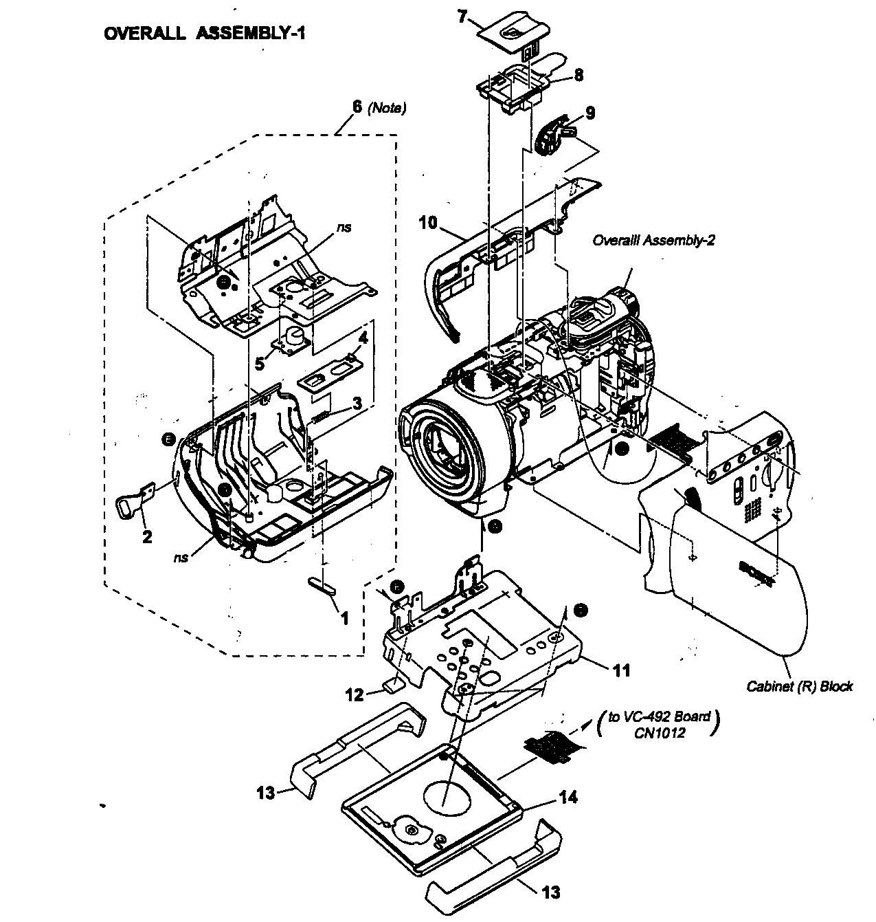 Sony model DCR-SR200 digital camcorder genuine parts
