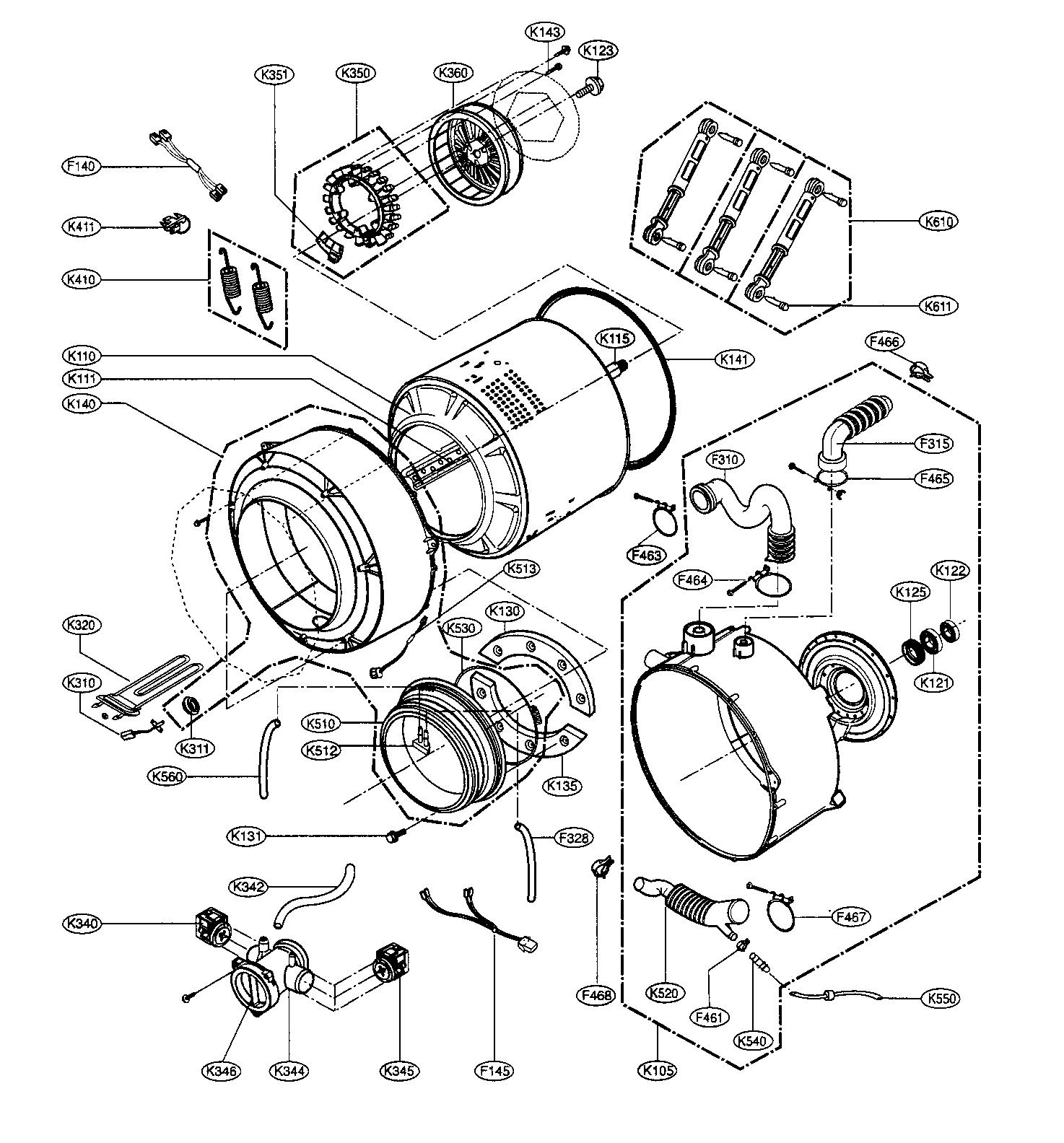 Lg model WM2688HWM residential washers genuine parts