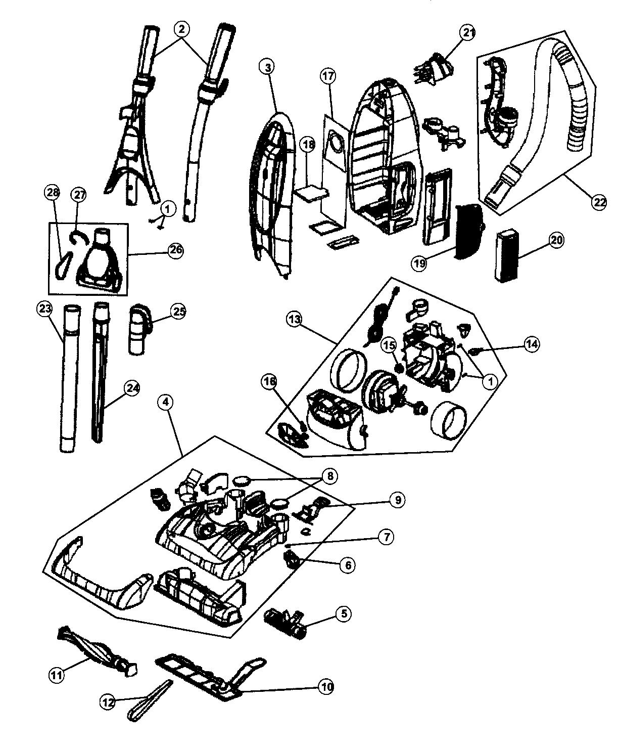 Dirt-Devil model 086010 vacuum, upright genuine parts