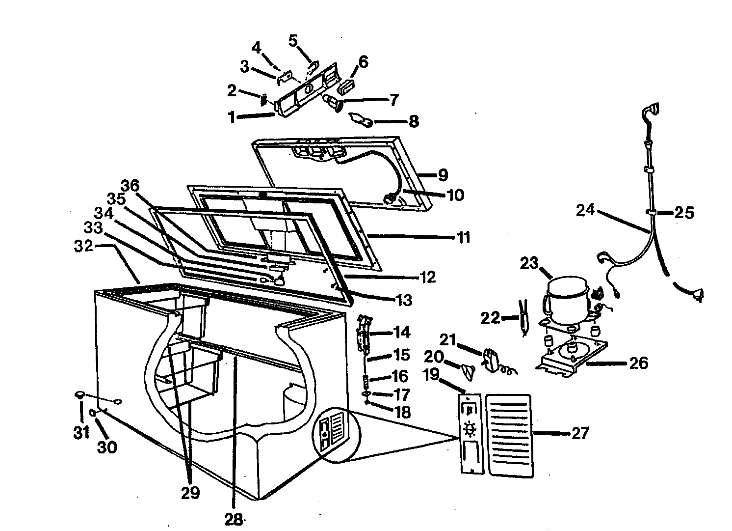 Wc-Wood model C1011W3 chest freezer genuine parts